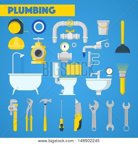 Plumbing Tools Set and Bathroom Elements. Vector Icons
