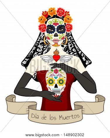 Mexican beautiful woman with Dia Los Muertos make-up and sugar skill in hand