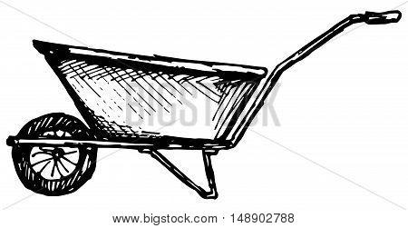 Garden wheelbarrow. Isolated on white background. Doodle style