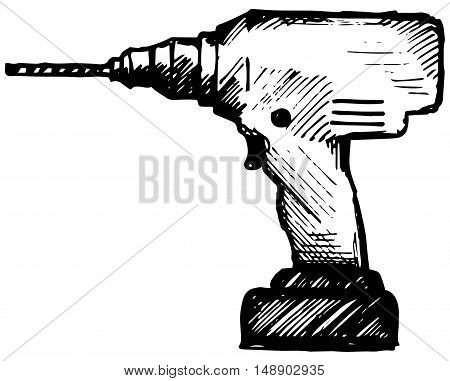 Cordless drill. Isolated on white background. Doodle style