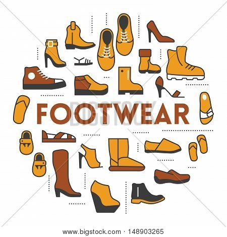 Footwear Line Art Thin Vector Icons Set with Boots and Shoes