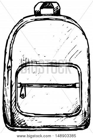 School backpack. Isolated on white background. Doodle style