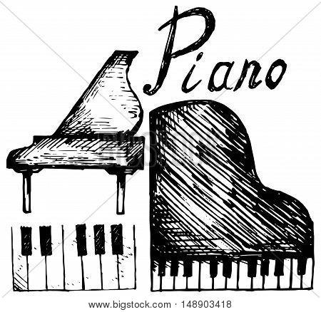 Set piano. . Isolated on white background