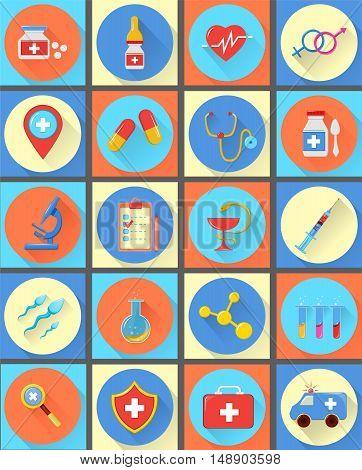 medical vector icons 20 set. Modern flat illustrations