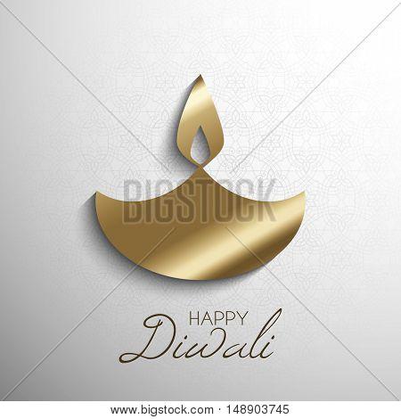 Happy Diwali background with stylized burning oil lamp