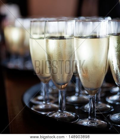 Bunch of glasses with sparkling wine