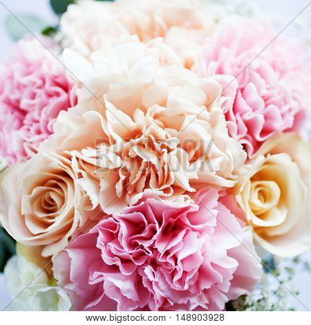 Wedding bouquet with pastel colour flowers