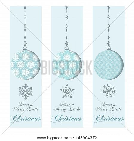Set of Christmas and New Year's banners with Snowflakes and balls. Perfect for holiday greetings, presents.