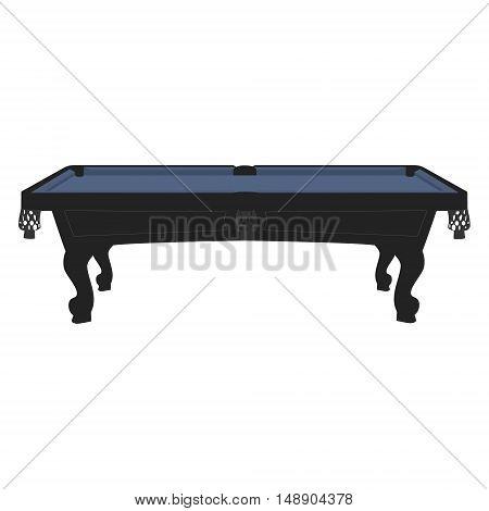 Vector illustration retro vintage pool table with blue cloth. Empty billiard table