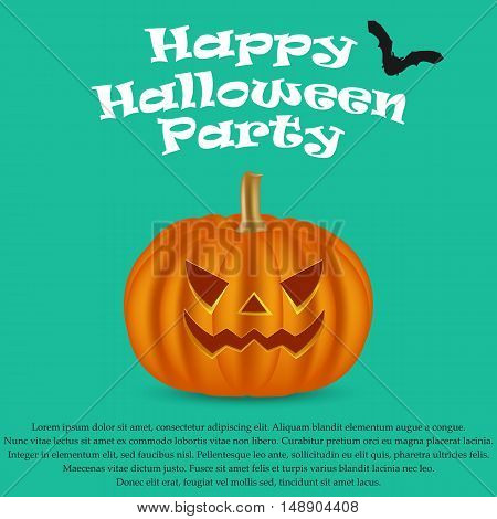 Wicked pumpkin for Halloween, vector illustration. Jack Lantern for Halloween party