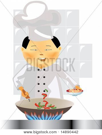 Chinese chef at work