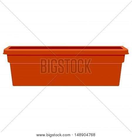 Vector illustration large brown plastic flower pot. Gardening equipment. Garden clay pot isolated on white