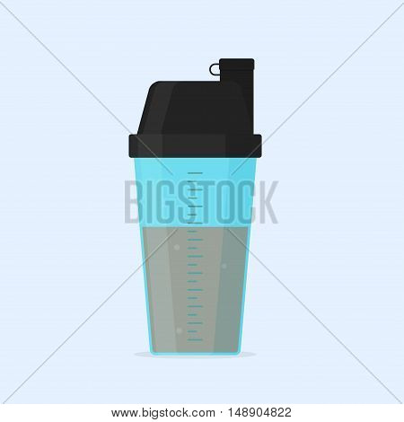 Protein shaker vector illustration isolated from the background. Protein drink in blue shaker bottle in a flat style. Sport fitness nutrition or supplements.