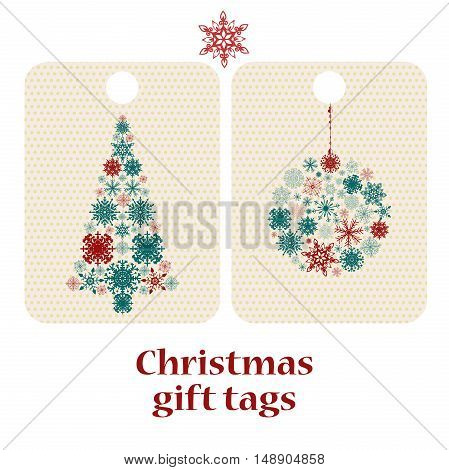 Set of Christmas and New Year's gift tags with Snowflakes. Perfect for holiday greetings, presents.