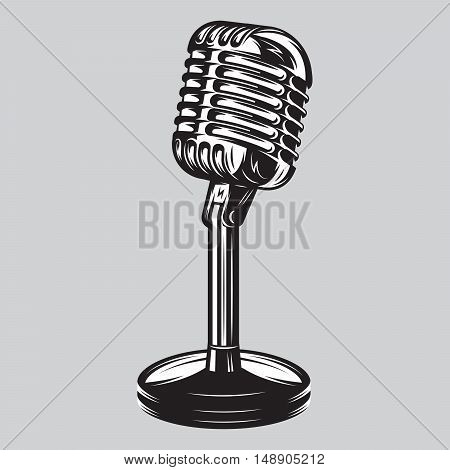Vector illustration poster of isolated retro vintage microphone on the table