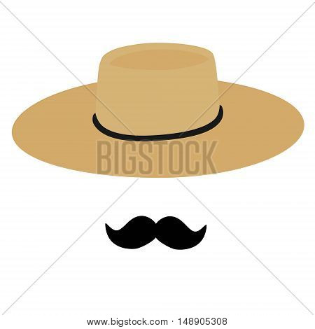 Vector illustration straw traditional hat chupalla chilean hat isolated on white background. Straw hat and black mustache. Chilean man
