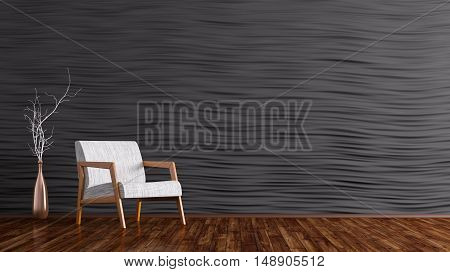 Interior Of Living Room With White Armchair 3D Rendering