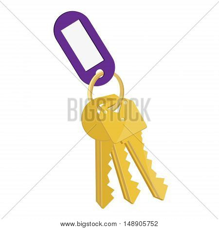 Vector illustration blank purple tag and golden keys. Bunch of keys with keychain isolated on white background