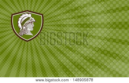 Business Card showing Illustration of Minerva or Menrva the Roman goddess of wisdom and sponsor of arts trade and strategy wearing helment and laurel crown viewed from side set inside shield crest done in retro style.