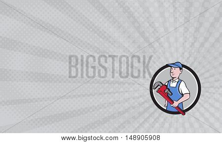 Business Card showing Illustration of a handyman wearing hat looking to the side holding pipe wrench viewed from front set inside circle on isolated background done in cartoon style.