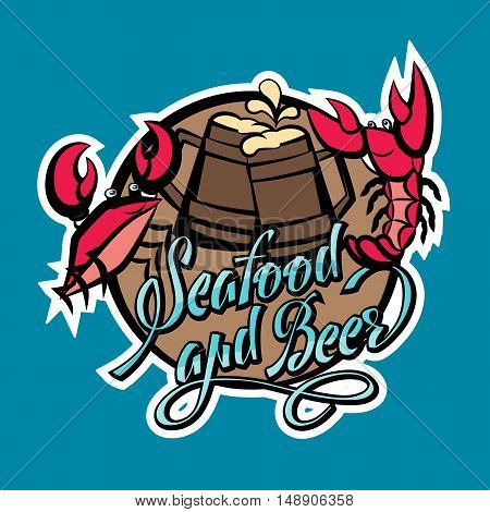Logo seafood and beer lettering. Crayfish and crab red with beer glasses. Vector illustration on blue background.