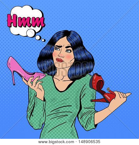 Young Pretty Pop Art Woman Making Choise on Shopping Between Shoes. Vector illustration