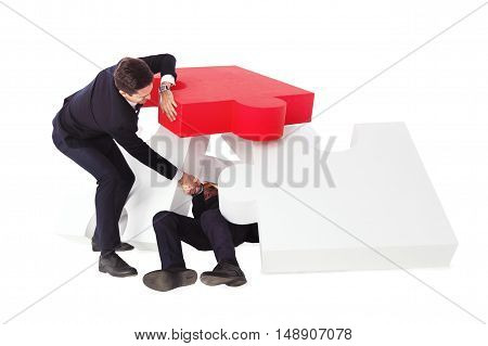 One businessman saving another from heap of problems concept isolated on white background