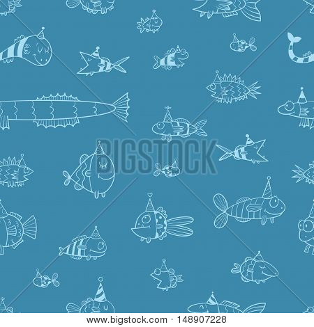 Birthday seamless pattern with cute cartoon fishes  in party hat  on blue  background. Underwater life. Funny sea animals. Children's illustration. Vector contour image.