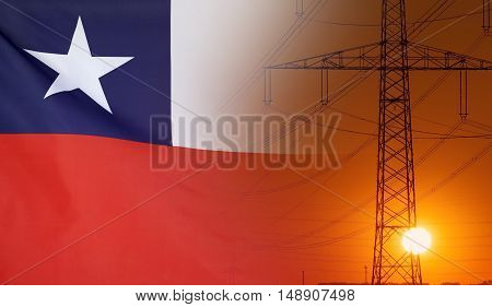 Concept Energy Distribution Flag of Chile with high voltage power pole during sunset