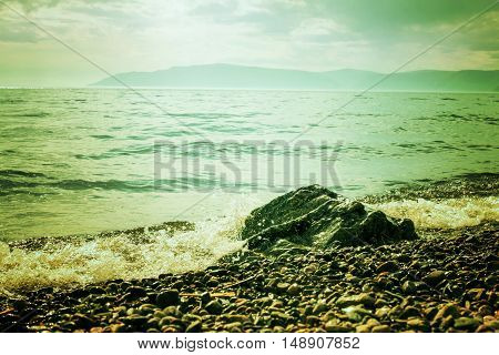 coast of Lake Baikal. Listvyanka village. Russia