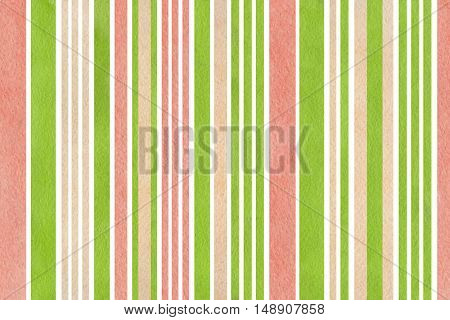 Watercolor Green, Pink And Beige Striped Background.