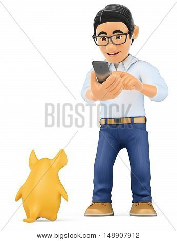 3d young people illustration. Teenager playing a augmented reality game with mobile. Isolated white background.