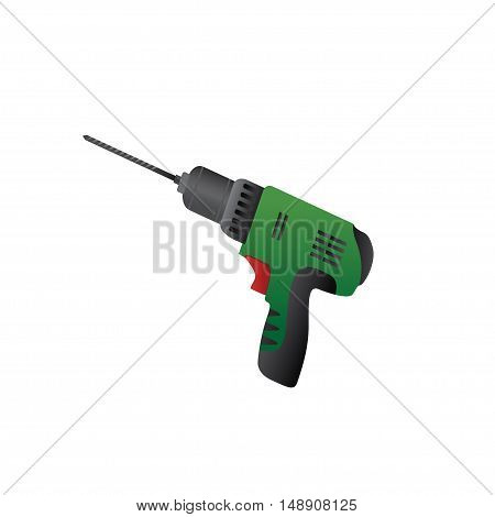 Large construction drill on a white background. Vector illustration