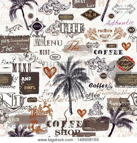 Fashion trendy pattern with retro labels palms ornament and spots in vintage authentic style