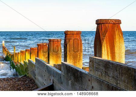 Wooden Groynes At Southwold Beach, Uk