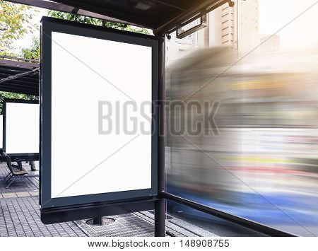 Mock up Billboard Media Banner at Bus Station on Street with Car Moving