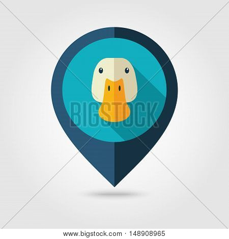 Duck flat pin map icon. Map pointer. Map markers. Animal head vector illustration eps 10