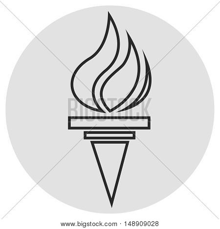 Burning torch line icon. Vector simple icon on dark grey grey background. Designed for web or mobile