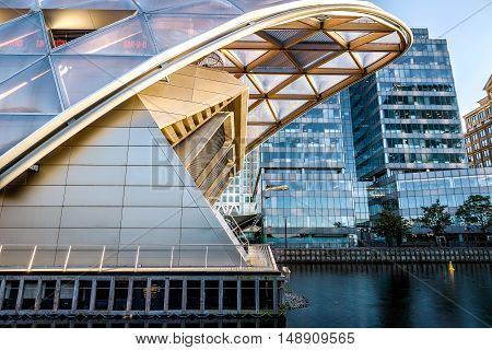 London, UK - August 30, 2016 - Cross rail Place in Canary Wharf financial district of London