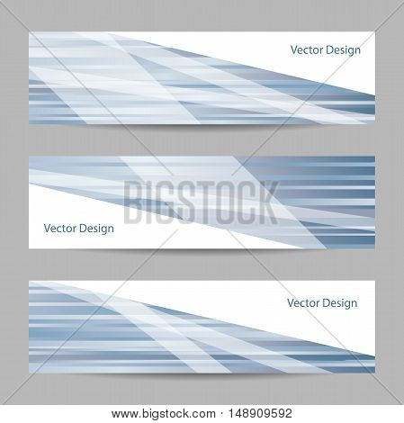 Set of horizontal banners. Abstract blue and white striped background. Business, science, medicine and technology design.