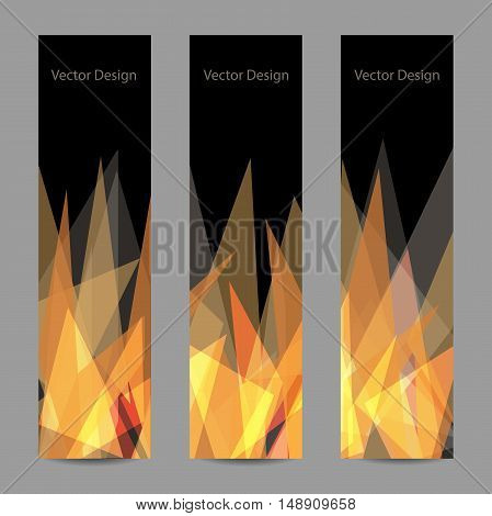 A set of modern vector banners with abstract triangular flame on black background.