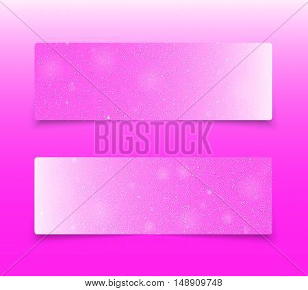Horizontal set of paper pink rectangle banners template for business design, infographics. Vector illustration eps10. Snow, blizzard, winter.