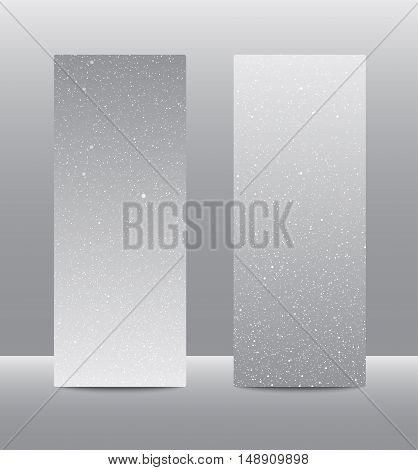 Vertical set of paper Grey rectangle banners template for business design, infographics. Vector illustration eps10. Snow, blizzard, winter.