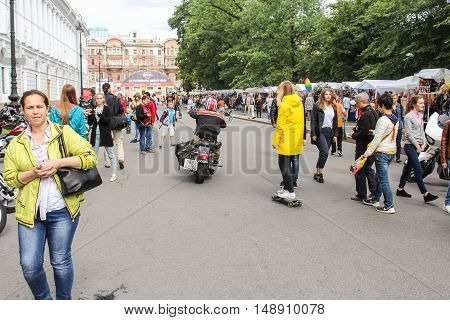 St. Petersburg, Russia - 12 August, People at the festival Harley Davidson,12 August, 2016. The annual International Festival of Motor Harley Davidson in St. Petersburg Ostrovsky Square.