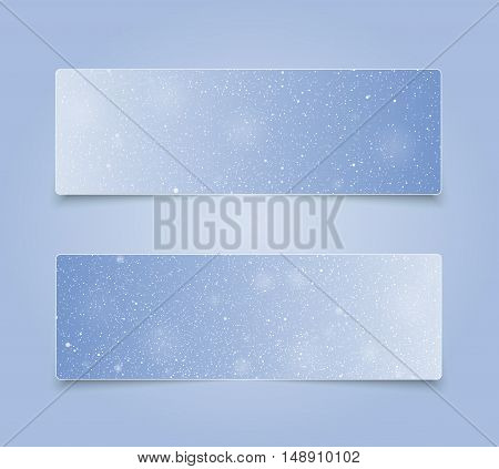 Horizontal set of paper Blue rectangle banners template for business design, infographics. Vector illustration eps10. Snow, blizzard, winter.