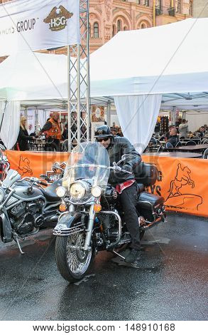 St. Petersburg, Russia - 12 August, Biker on a motorcycle,12 August, 2016. The annual International Festival of Motor Harley Davidson in St. Petersburg Ostrovsky Square.