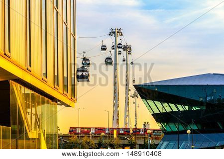 Thames Cable Car At Sunset