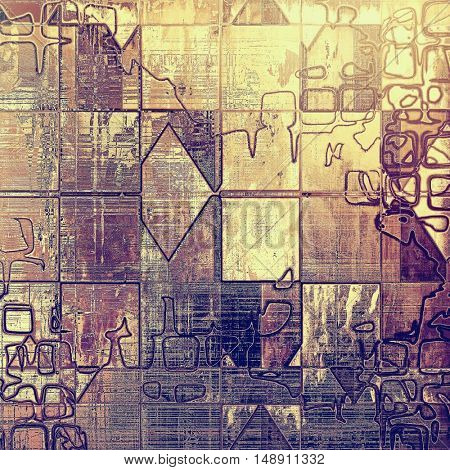 Geometric vintage texture or antique background with grunge decorative elements and different color patterns: yellow (beige); brown; gray; purple (violet); pink