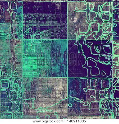Geometric antique frame or background with vintage feeling. Aged texture with different color patterns: gray; green; blue; purple (violet); cyan