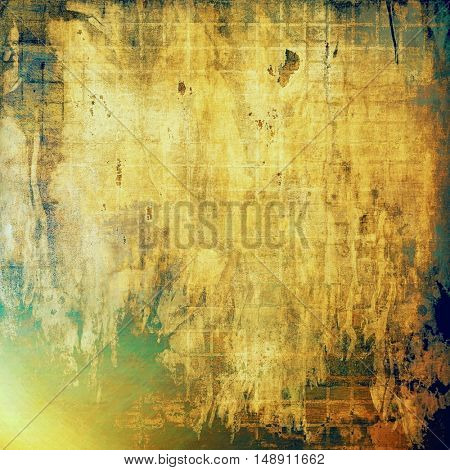 Abstract vintage background with grunge effects, ragged elements, and different color patterns: yellow (beige); brown; gray; green; blue